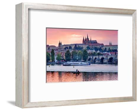 Charles Bridge across Vltava River with Hradcany Quarter and St. Vitus Cathedral in Prague--Framed Art Print