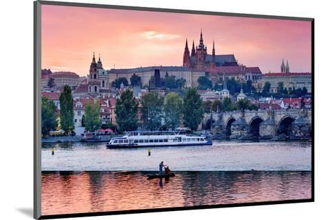 Charles Bridge across Vltava River with Hradcany Quarter and St. Vitus Cathedral in Prague--Mounted Art Print