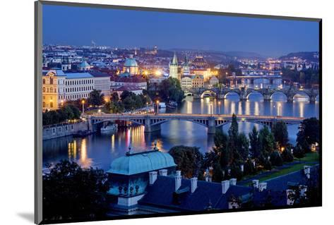 View from Letna Hill across Vltava Bridges towards the Old Town of Prague, Czech Republic--Mounted Art Print