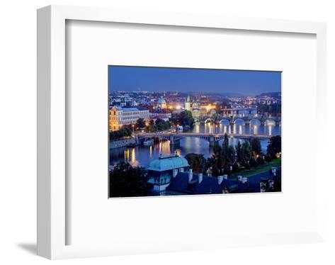 View from Letna Hill across Vltava Bridges towards the Old Town of Prague, Czech Republic--Framed Art Print