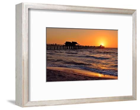 Pier on the Beach of Naples on the Gulf Coast, Florida, USA--Framed Art Print