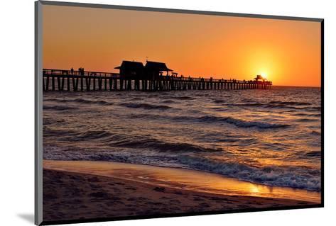 Pier on the Beach of Naples on the Gulf Coast, Florida, USA--Mounted Art Print