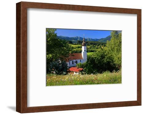 Parish church of St. Georg in Bad Bayersoien, Upper Bavaria, Germany--Framed Art Print