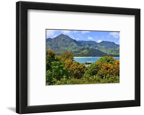 View across the Bay at Hanalei Beach, Island of Kauai, Hawaii, USA--Framed Art Print