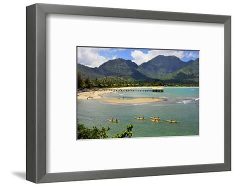 Pier on Hanalei Beach, Island of Kauai, Hawaii, USA--Framed Art Print