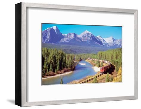 Train In The Rockies--Framed Art Print