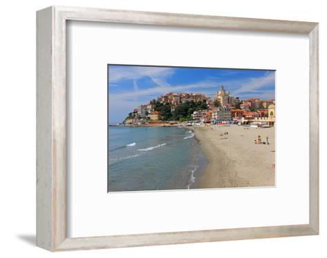 Beach with View of the Urban District of Porto Maurizio in Imperia, Liguria, Italy--Framed Art Print