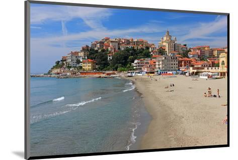 Beach with View of the Urban District of Porto Maurizio in Imperia, Liguria, Italy--Mounted Art Print