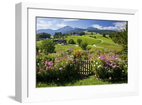 Flower Garden at Hoeglwoerth Monastery, Upper Bavaria, Bavaria, Germany--Framed Art Print
