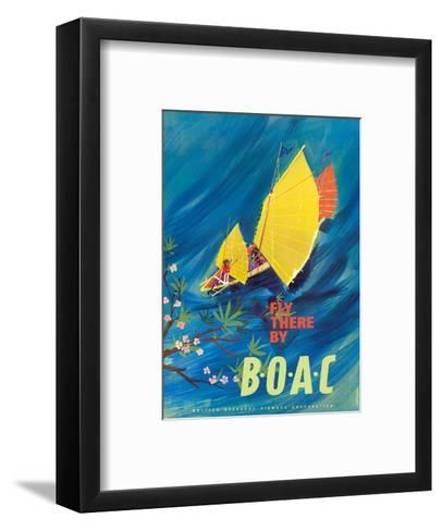 The Orient - Fly There By BOAC - Hong Kong Thailand Cambodia Asia-David Judd-Framed Art Print