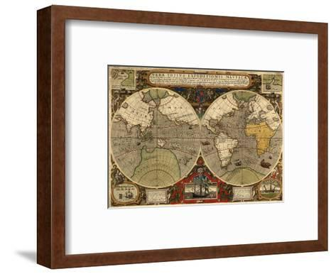 World Expeditions Map with Routes of Sir Francis Drake and Thomas Cavendish-Jodocus Hondius-Framed Art Print