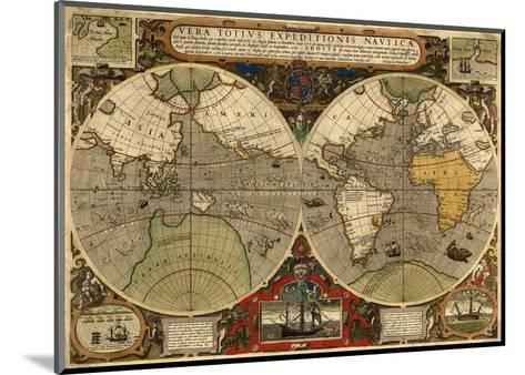 World Expeditions Map with Routes of Sir Francis Drake and Thomas Cavendish-Jodocus Hondius-Mounted Art Print