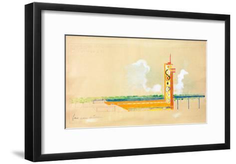 Sketch for the Exterior Design of the Train Pavillion, 1937-Robert Delaunay-Framed Art Print