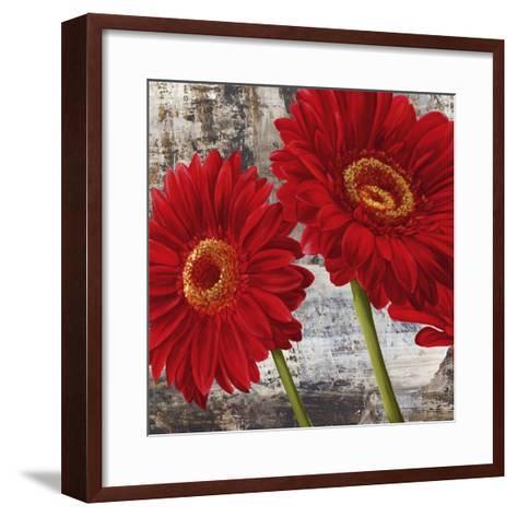 Red Gerberas I-Jenny Thomlinson-Framed Art Print