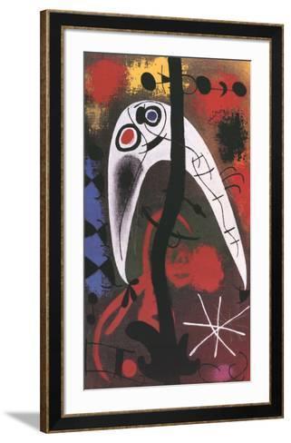 Femme et Oiseau dans la nuit-Joan Mir?-Framed Art Print
