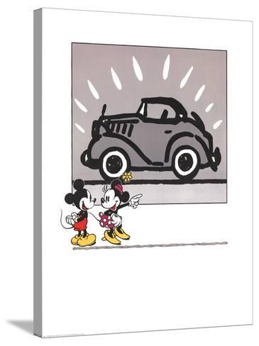 Mickey and Minie Looking at a Rolls Royce--Stretched Canvas Print