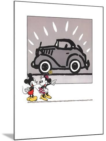 Mickey and Minie Looking at a Rolls Royce--Mounted Art Print