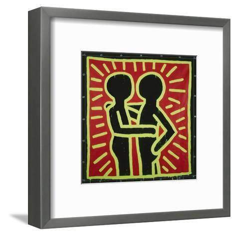 Untitled, 1982 (couple in black, red, and green)-Keith Haring-Framed Art Print