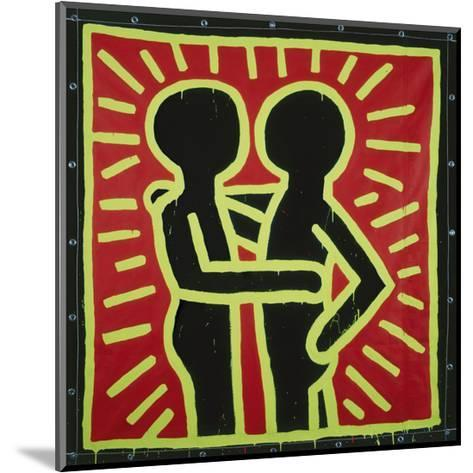 Untitled, 1982 (couple in black, red, and green)-Keith Haring-Mounted Art Print