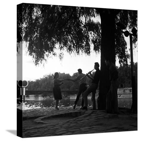 Rock 'n' Roll Dancers on the Square du Vert-Galant, Paris, 1960-Paul Almasy-Stretched Canvas Print
