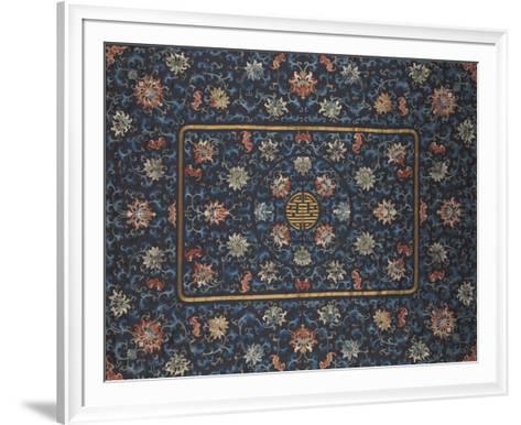 Embroidered Silk, Lotus Flowers on Blue- Oriental School-Framed Art Print