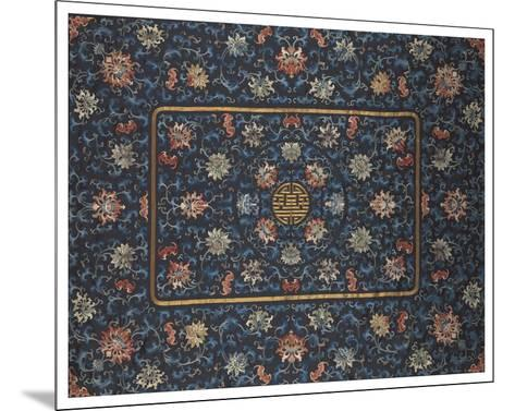 Embroidered Silk, Lotus Flowers on Blue- Oriental School-Mounted Premium Giclee Print
