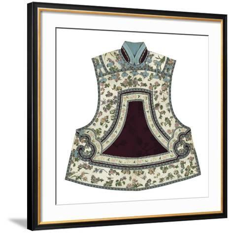 Embroidered Silk, Floral Tabbard, Front- Oriental School -Framed Art Print