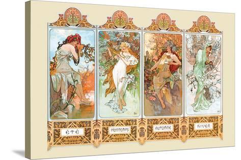 Mucha The Four Season-Alphonse Mucha-Stretched Canvas Print
