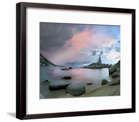 Hidden Beach at sunset, Lake Tahoe, Nevada-Tim Fitzharris-Framed Art Print