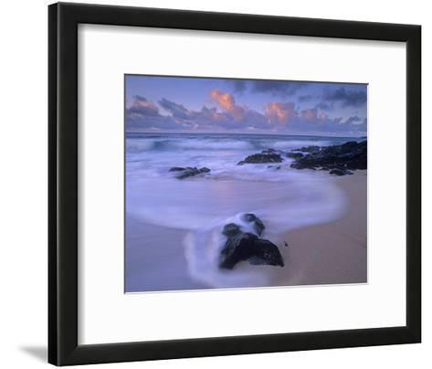 Rolling waves at dusk at Sandy Beach, Oahu, Hawaii-Tim Fitzharris-Framed Art Print