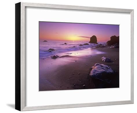 Enderts Beach at sunset, Redwood National Park, California-Tim Fitzharris-Framed Art Print