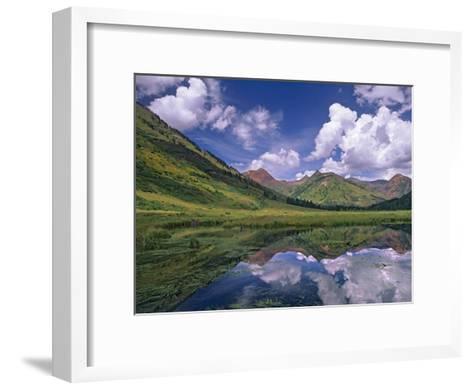 Ruby Range reflected in lake Gunnison National Forest, Colorado-Tim Fitzharris-Framed Art Print