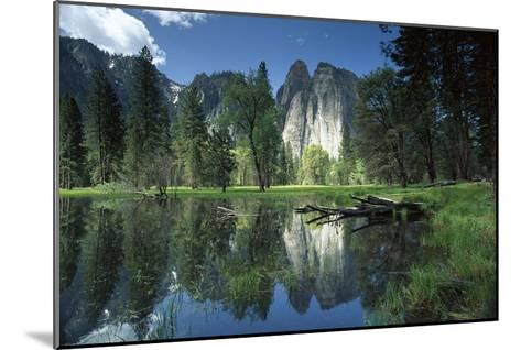 Granite reflecting in pool, Yosemite National Park, California-Tim Fitzharris-Mounted Art Print