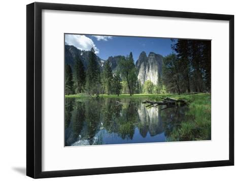 Granite reflecting in pool, Yosemite National Park, California-Tim Fitzharris-Framed Art Print