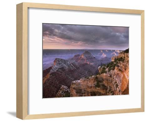 Stormy skies over Vishnu Temple, Grand Canyon National Park, Arizona-Tim Fitzharris-Framed Art Print