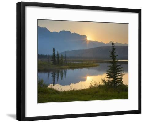 Sunset over Miette Range and Talbot Lake, Jasper National Park, Alberta, Canada-Tim Fitzharris-Framed Art Print