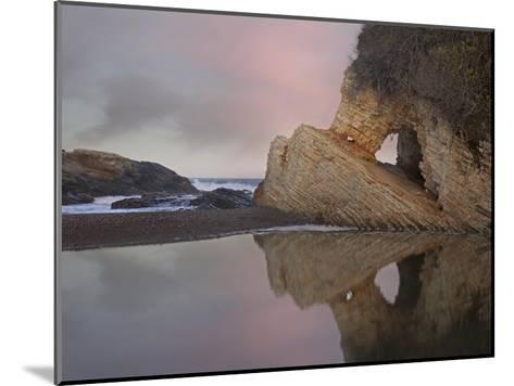 Cave reflected in pool at dusk, Spooners Cove, Montano de Oro State Park, California-Tim Fitzharris-Mounted Art Print
