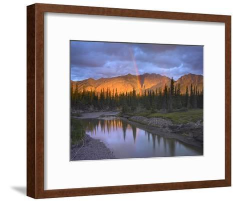 Rainbow over Fairholme Range and Exshaw Creek, Alberta, Canada-Tim Fitzharris-Framed Art Print