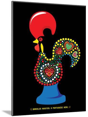 Portuguese Rooster Black-Patricia Pino-Mounted Art Print