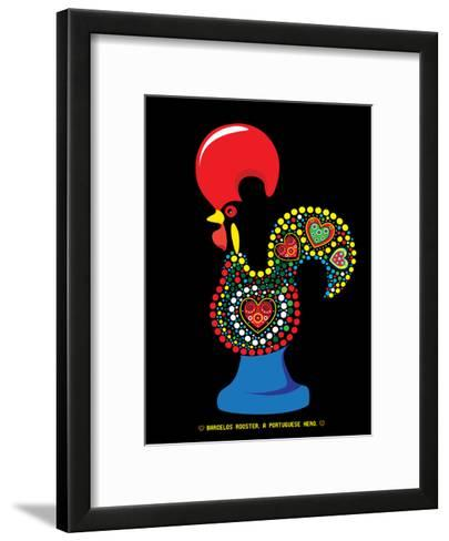Portuguese Rooster Black-Patricia Pino-Framed Art Print