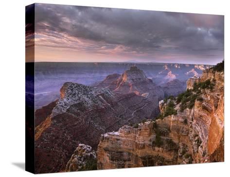 Stormy skies over Vishnu Temple, Grand Canyon National Park, Arizona-Tim Fitzharris-Stretched Canvas Print