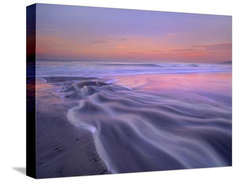 Fresh water stream flowing into the Pacific Ocean, Zuma Beach, Malibu, California-Tim Fitzharris-Stretched Canvas Print