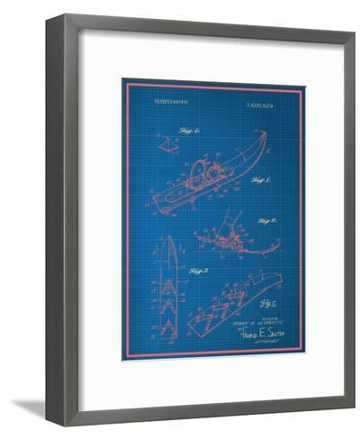 Vintage Snowshoe Blueprint--Framed Art Print