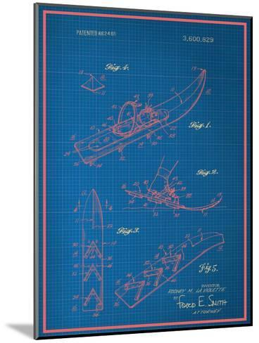 Vintage Snowshoe Blueprint--Mounted Art Print