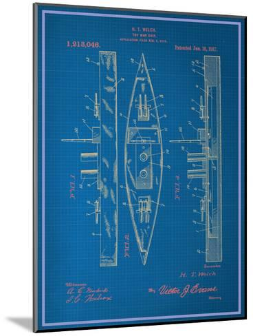 Toy Warship Blueprint--Mounted Art Print