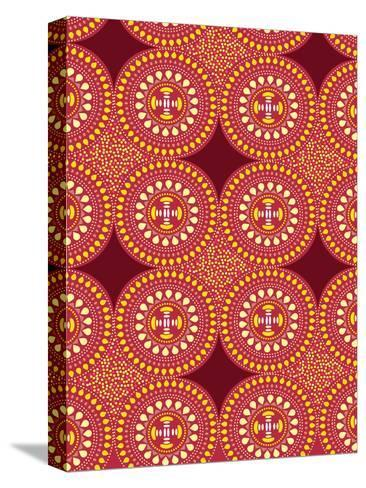 Tribal African Red Pattern-Patricia Pino-Stretched Canvas Print