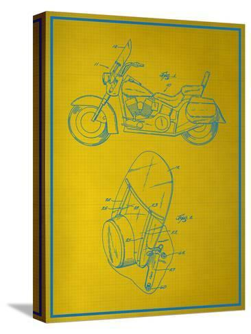 Motorcycle Blueprint--Stretched Canvas Print