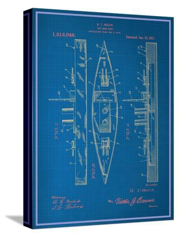 Toy Warship Blueprint--Stretched Canvas Print