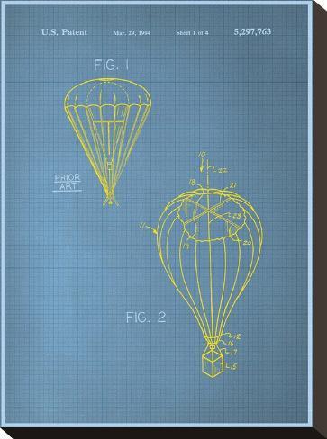 Parachute Blueprint--Stretched Canvas Print