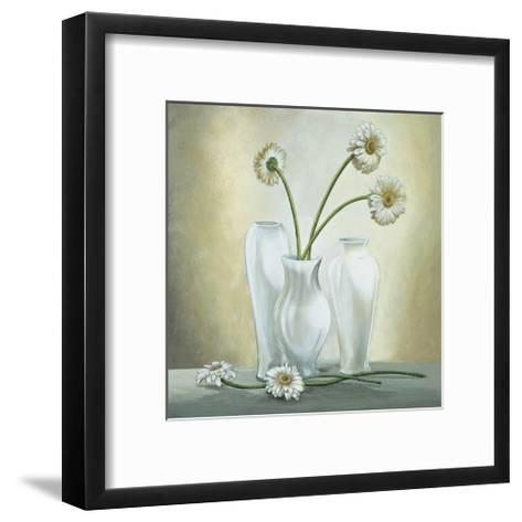 Vasi Bianchi con Gerbere-Lisa Corradini-Framed Art Print